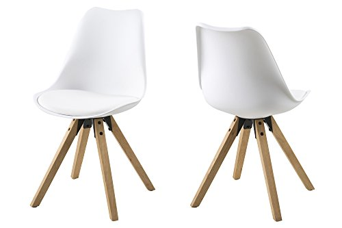 AC Design Furniture 63528 Stuhl Nadia 2-er Set Beine Eichegebeizt, ölbehandelt, Weiß (Ac-möbel-stuhl)