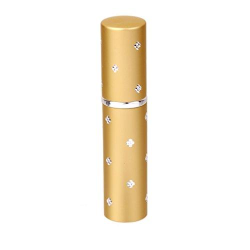 Mini Atomiseur de Parfum Vaporisateur Rechargeable Bouteille Vide en Alliage 6ml pour Voyage - Doré