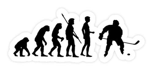 shirt-o-magic Aufkleber Eishockey: Evolution Eishockeyspieler - Sticker -Einheitsgröße-Weiß
