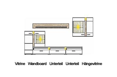 5-tlg. Wohnwand mit Korpus in weiß glänzend, Fronten in weiß Hochglanz und Absetzungen in Sonoma Eiche-hell-Nb., Maße: B/H/T ca. 334/204/54 cm - 4