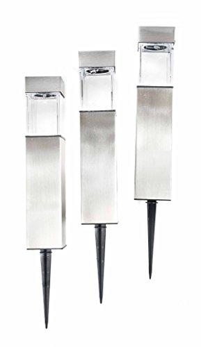 Grundig 3er-Set Edelstahl Solarleuchten, modernes Design, Dämmerungsautomatik, schaltbar, eckig, Höhe ca. 41/28 cm