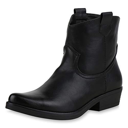 SCARPE VITA Damen Stiefeletten Cowboy Boots Leder-Optik Stiefel Western Schuhe Spitze Booties Cowboystiefel Metallic 173415 Schwarz Schwarz 41
