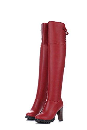 VogueZone009 Damen Rein Hoher Absatz Schließen Zehe Reißverschluss Stiefel mit Metallisch Rot