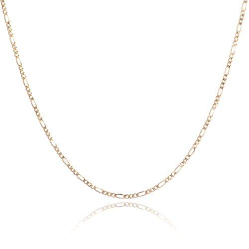 14 Karat 585 Gold Italienisch Flach Figaro Kette Unisex – Breite 2.2 mm – Länge wählbar