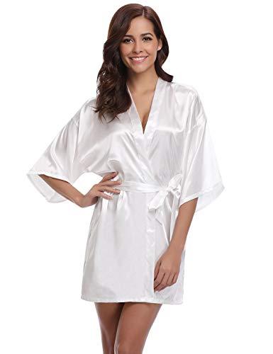Abollria Robes de Chambre et Kimonos Robes de Mariée Femme Peignoir Satin Robes de Chambre Couleur Pure Vêtement de Nuit Sortie de Bain, Blanc, S