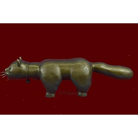 Statua di bronzo Scultura...Spedizione Gratuita...Animal Botero Cat Gato felina Grande Handcrafted(AL-395-JP)Statue Figurine Figurine Nude per ufficio e casa Décor Primo Giorno Collezionismo Articoli