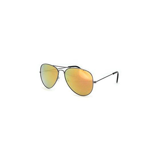 Hochwertige Pilotenbrille Sonnenbrille 70er Jahre Herren & Damen Sunglasses Fliegerbrille verspiegelt (Black / Gold)