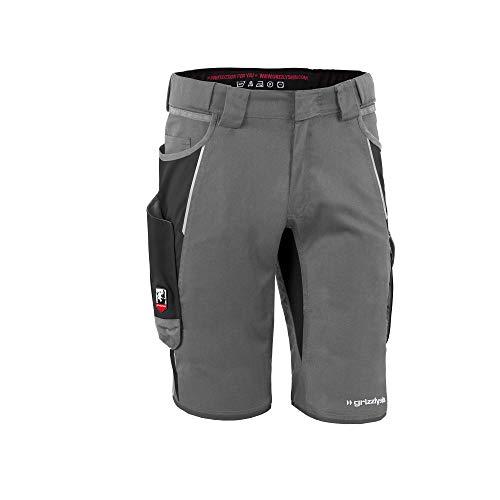 Grizzlyskin Arbeitsshorts Iron - Unisex Workwear Kurze Arbeitshose für Männer und Damen; Farbe: Grau/Schwarz; Größe: N48