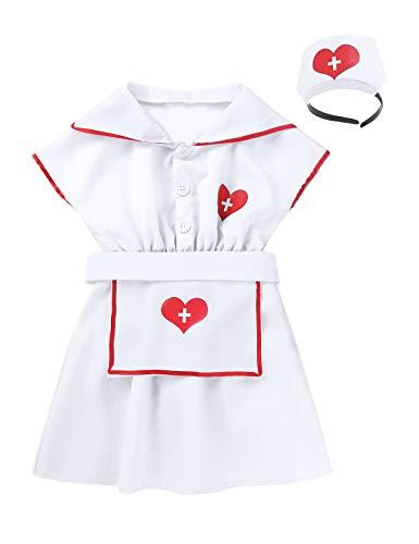 YOOJIA Mädchen Krankenschwester Kostüm Arzt Kleid Outfit Kinder Arztkittel Halloween Festzug Cosplay Kinderkostüm mit Haarband Schürze Weiss 128-140/8-10Jahre (Arzt, Kostüme 10)