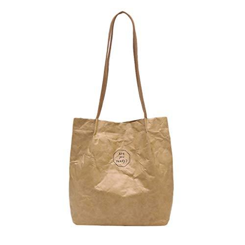 TUDUZ Damen Retro Handtasche Kraftpapier Wasserdicht Umhängetaschen Brief Druck Einfarbig Casual Schultertasche Shopper Strandtasche (33cmx13cmx34cm, Khaki) -