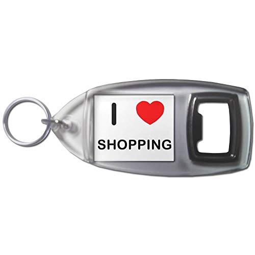 BadgeBeast.co.uk I Love Heart Shopping - Schlüsselanhänger aus Kunststoff Flaschenöffner