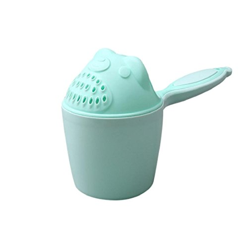 Jeoy Baby Cute Spoon Shower Shampoo Rinse Cup for Bath Water Swimming (green)