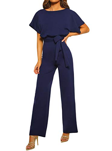 TOUVIE Damen Jumpsuit Elegant Lang Weites Bein Hohe Taille Kurzarm Overalls mit Gürtel Blau L Lange Frauen Jumpsuits