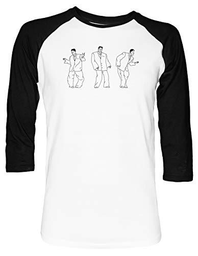 David Byrnes Groß Passen Unisex Baseball T-Shirt 2/3 Ärmel Herren Damen Weiß Schwarz 1800 Video