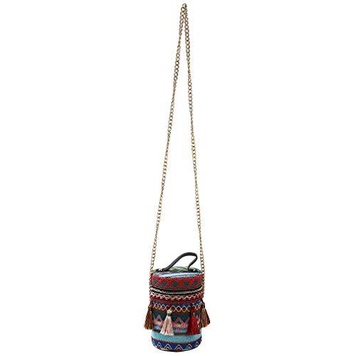 ethnischen Quaste tonnenförmige Handtaschen Crossbody Eimer Mini zylindrische Kette Geldbörsen, rot ()