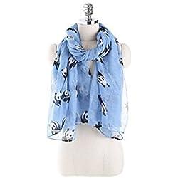 honeysuck Fashion suave mujeres Panda impresión ligera bufanda chal (azul cielo)