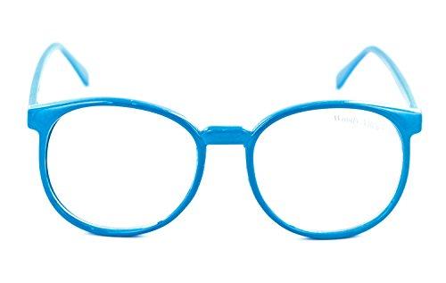Nerd-Brille in Blau 14,5 x 5,5 cm Unisex Panto-Brille mit klaren Gläsern ohne UV Schutz Nerd-Brille (Gläser Nerdy)