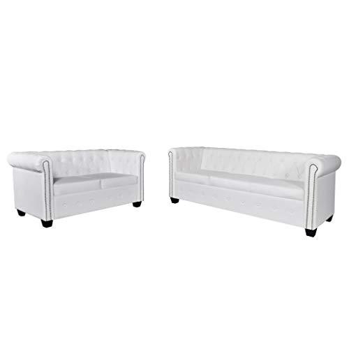 Vidaxl set divani da 2/3 posti persone ecopelle bianco sofà divanetto salotto