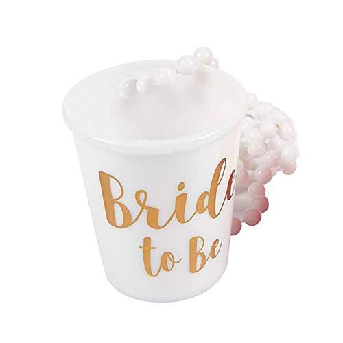 Dengofng Team Braut und Braut um Sein Plastik Perlen Braut Shot Glas Halskette Rosa und Weiß mit Gold Folie für Bachelorette Party Braut Party Halsketten - Weiß, Free Size
