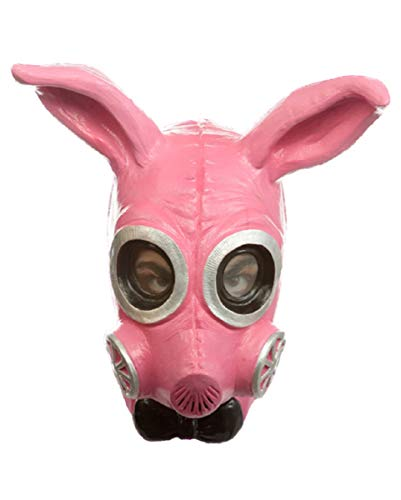 Horror-Shop Pinke Fetisch Bunny Gas Maske für Halloween & Erotik Partys