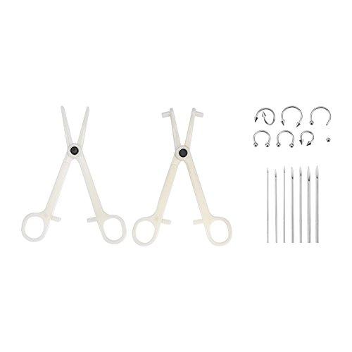 Körper Piercing Kit, professionelle Ohr Nase Werkzeuge Pinzetten Nadeln Set mit Stud Ring (Haut Nase Ring)