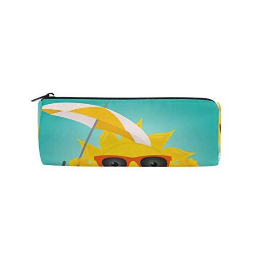 Bonipe Federmäppchen mit Sonnenbrille, Emoji-Regenschirm, für Schule, Schreibwaren, Stiftebox, Reißverschluss