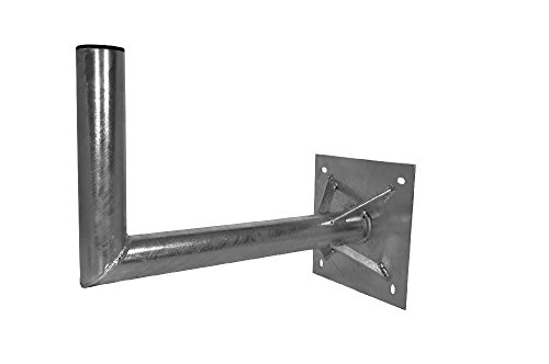 A.S.Sat 26500 Wandhalter feuerverzinkter Stahl 50 cm Wandabstand 60 mm Halterrohr mit Verstrebung für Sat- Antennen 120 cm