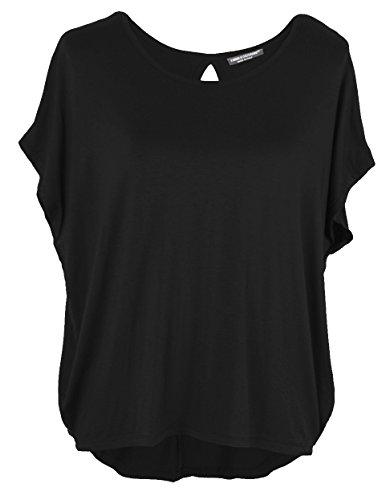 Emma & Giovanni - Basic Sommer T-Shirt/Oberteile Kurzarm - Damen (Schwarz, L/XL 40/42) -