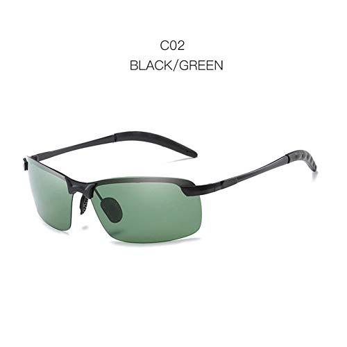 Chudanba Randlose Männer Polarisierte Sonnenbrille Driving Rectangle Sonnenbrille Male UV Protection Shades,Black Green