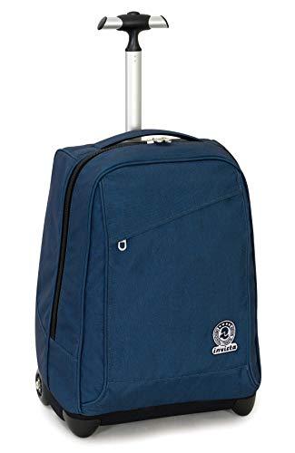 Trolley invicta benin recycled, blu, 35 lt, 2in1  zaino con sollevamento spallacci per uso trolley, scuola & viaggio