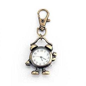 TOOGOO(R) Retro Bronze Metall Wecker Roboter Schluesselanhaenger Anhaenger mit Uhr 1.8