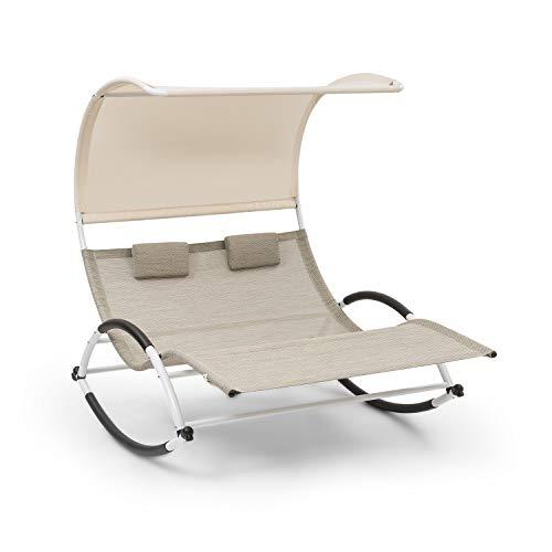 Blumfeldt brentwood double rocker - sdraio a dondolo doppia, per 2 persone, superficie reclinabile ergonomica sagomata, elegante forma ondulata, braccioli con schiuma, materiale: comfortmesh