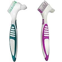 2 piezas de doble cerda cabeza dentadura conjunto de cepillo, múltiples capas de cerdas falsas