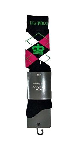 HV Polo Kniestrümpfe Reitsocken Argyle Socken, Strümpfe, Socken, hohe Rutschfestigkeit, Baumwollmaterial, ideal für das Tragen in Reitstiefel und Chaps (Navy Pink, 35-38) - Navy-reitstiefel