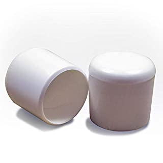 ajile - 12 pieces - Round plastic ferrule furniture chair feet floor protector - 12 mm diameter - WHITE