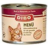 DIBO CAT Rind, 6 x 185g-Dose, Katzenfutter, Nassfutter, aus reinem Fleisch mit Naturreis, Taurin und Innereien im eigenen Saft