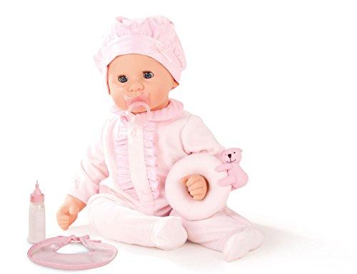 Götz 1461143 Cookie Care Puppe - Powder Pink mit Schmatz- und Weinfunktion - 48 cm große Weichkörper-Babypuppe mit blauen Schlafaugen, ohne - Puppe Tuch Baby