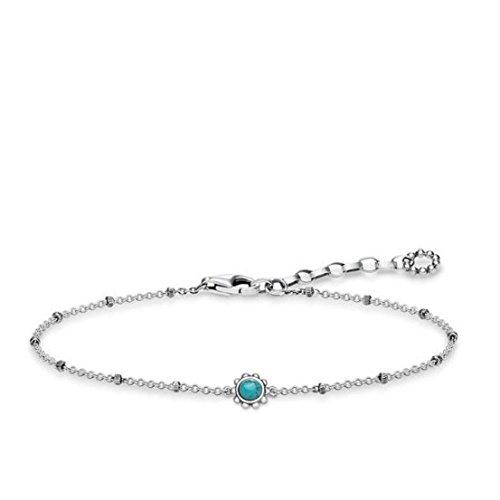 THOMAS SABO Damen Armband Ethno Türkis 925er Sterlingsilber, Geschwärzt A1670-878-17