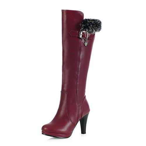 ZQ@QXIl nostro codice è bene con alta stivali scarpe cilindro stivali fibbia Red wine