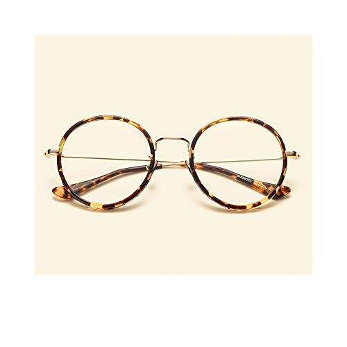 Unbekannt No Brand Round Frame Vintage Brillengestell, Unisex Optical Glasses Reader Light Health (Farbe : Tortoise Shell)