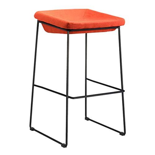 Sgabelli da bar nordici gambe nere imbottite imbottite in ferro battuto sgabello alto per il tempo libero creativo per il contatore domestico della cucina - cuscino arancione rosso