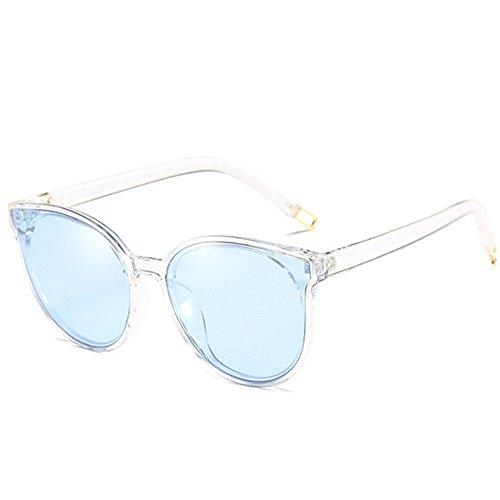 RLJJSH Runde Kunst der halben grenzenlosen polarisierten Sonnenbrillendamenmänner der runden Kunst des Gesichtes Retro- Sonnenbrille Sonnenbrille (Farbe : Blau, größe : One Size)