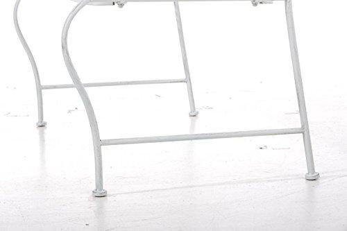 klassische Metallgartenbank in antik Weiß, eine romantische Ruhebank für den Park im Landhausstil mit Nostalgie Elementen für 2 Personen – pflegeleichte Sitzbank aus Eisen B106cm - 8