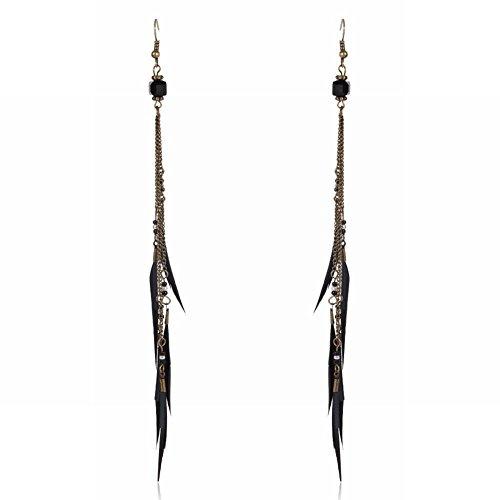 Classic quality Maravillosamente joyería Plumas largas y finas, oeste de orejas largas plumas su flujo de aleación aretes Joyería actual C