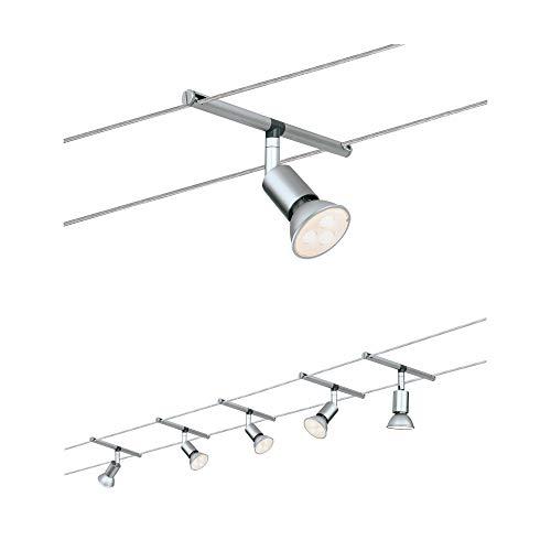 Paulmann 941.24 Seilsystem SpiceSaltLED Set Warmweiß 5x4W LED Chrom 94124 Seilleuchte Hä