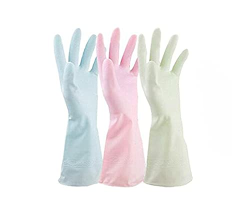 3Pair(6PCS) Mixed Color Natural Latex Rubber Cleaning Glove Kitchen Gloves Waterproof Water Stop Gloves Dishwashing Gloves Household Gloves Non Slip