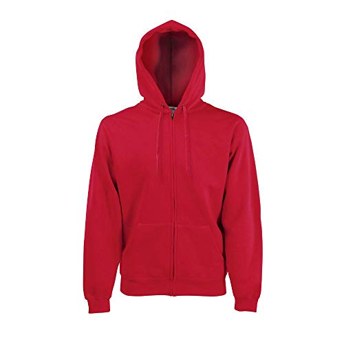 Schuluniform Herren Zip (Fruit of the Loom - Hooded Sweat Jacket - Modell 2013 S,Red)