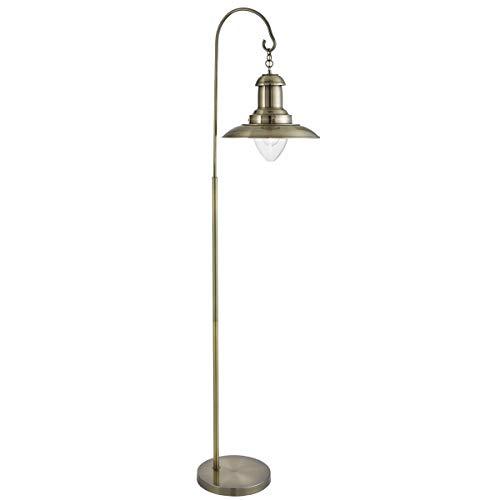 Glas-antike Stehlampe (Maritime Stehlampe, Antikes Messing, Glas)