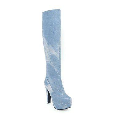 RTRY Scarpe Donna Denim Moda Inverno Stivali Stivali Chunky Tallone Punta Tonda Thigh-High Scarponi Per Abbigliamento Casual Blu Chiaro Blu Scuro US5.5 / EU36 / UK3.5 / CN35