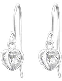 128313d2ee91 Tata Gisèle - Pendientes Colgantes de Plata 925 000 rodiada y óxido de  circonio – circonio colocados en una Jaula en Forma de corazón de…